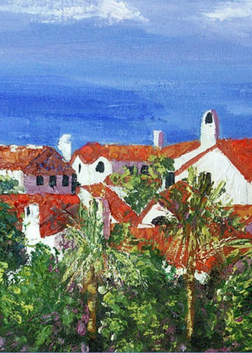 Off The Coast Greeting Card featuring the painting Off The Coast by Anthony Falbo