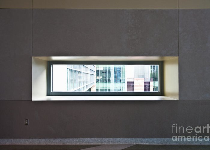 Architectural Detail Greeting Card featuring the photograph Office Buildings Seen Through Window by Dave & Les Jacobs
