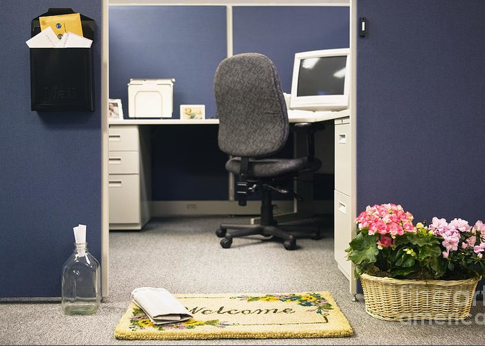 Blue Greeting Card featuring the photograph Office Cubicle by Andersen Ross