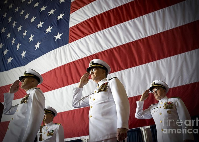 Navy Cyber Forces Greeting Card featuring the photograph Officers Render Honors During A Change by Stocktrek Images