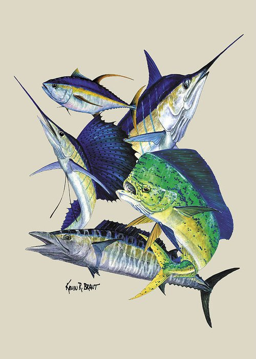 Marlin Greeting Card featuring the painting Offshore Montage by Kevin Brant