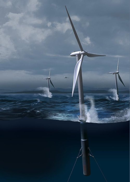 Equipment Greeting Card featuring the photograph Offshore Wind Farm In A Storm, Artwork by Claus Lunau