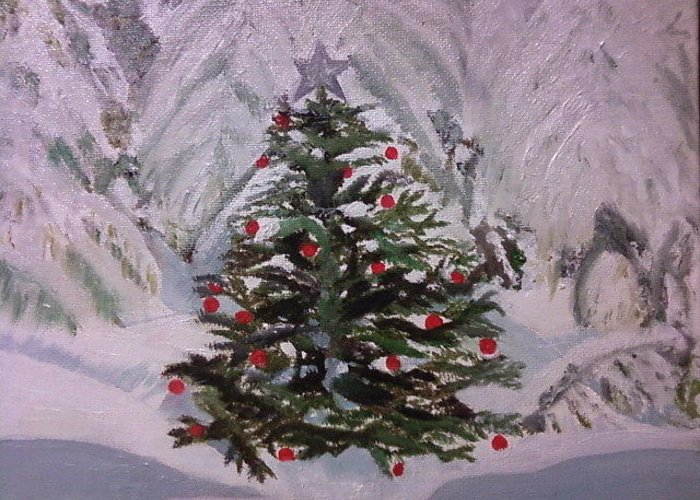 Snow Greeting Card featuring the painting Oh Christmas Tree by Lourdes Torres