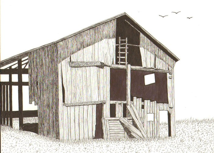 Pen And Ink Greeting Card featuring the drawing Ohio Barn by Pat Price