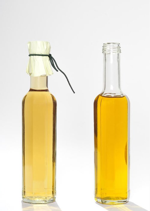Balsamic Vinegar Greeting Card featuring the photograph Oil And Vinegar Bottles by Matthias Hauser