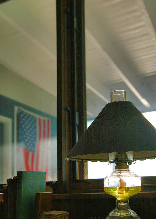 Light Greeting Card featuring the photograph Oil Lamp And Porch by Steven Ainsworth