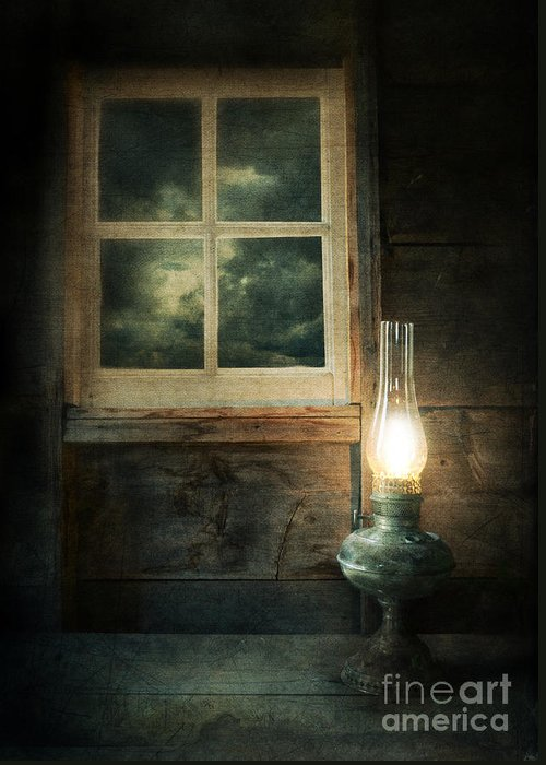 House Greeting Card featuring the photograph Oil Lamp On Table By Window by Jill Battaglia