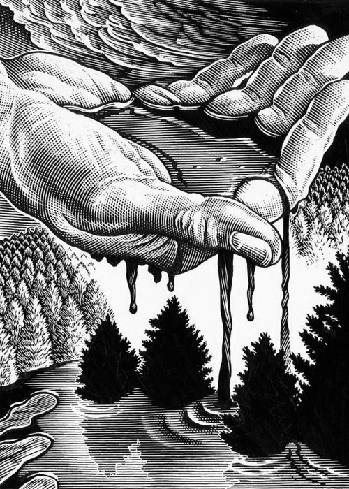 Hand Greeting Card featuring the photograph Oil Pollution by Bill Sanderson