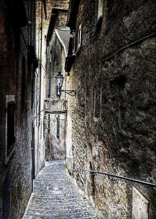 Cannobio Greeting Card featuring the photograph old alley in Italy by Joana Kruse