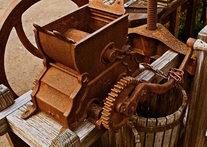 Old Apple Press Greeting Card featuring the photograph Old Apple Press 2 by Bill Owen