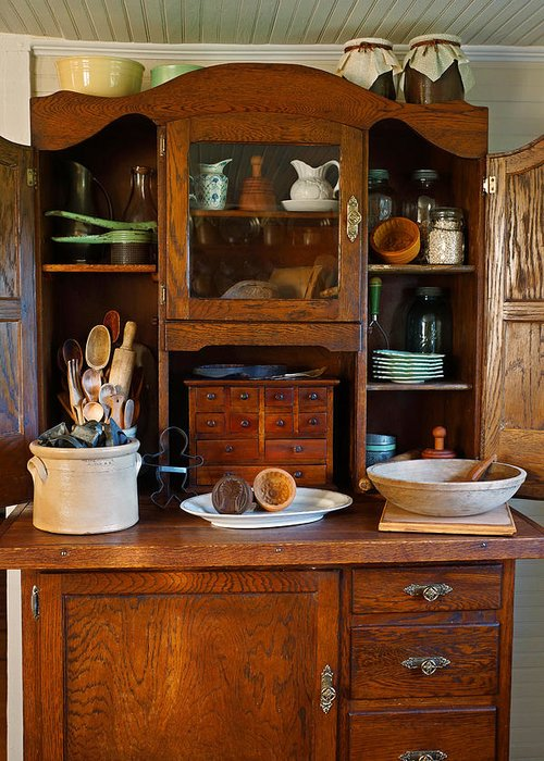 Hoosier Cabinet Greeting Card featuring the photograph Old Bakers Cabinet by Carmen Del Valle