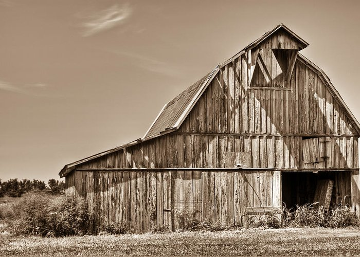 Old Greeting Card featuring the photograph Old Barn In Sepia by Douglas Barnett