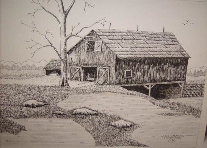 Old Barn Pen And Ink Mixed Media Greeting Cards