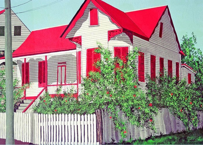 Belize City Belize Caribbean Greeting Card featuring the painting Old Belizean Home by John Westerhold