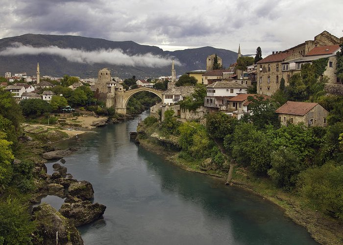 Mostar Greeting Card featuring the photograph Old Bridge Of Mostar by Ayhan Altun