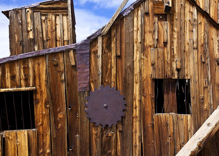 Wooden Greeting Card featuring the photograph Old Building Bodie Ghost Town by Garry Gay