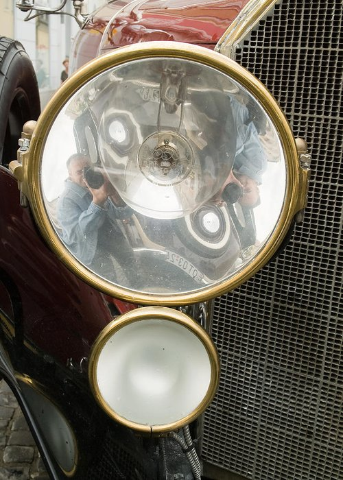 1200 Greeting Card featuring the photograph Old Car Lamp by Odon Czintos