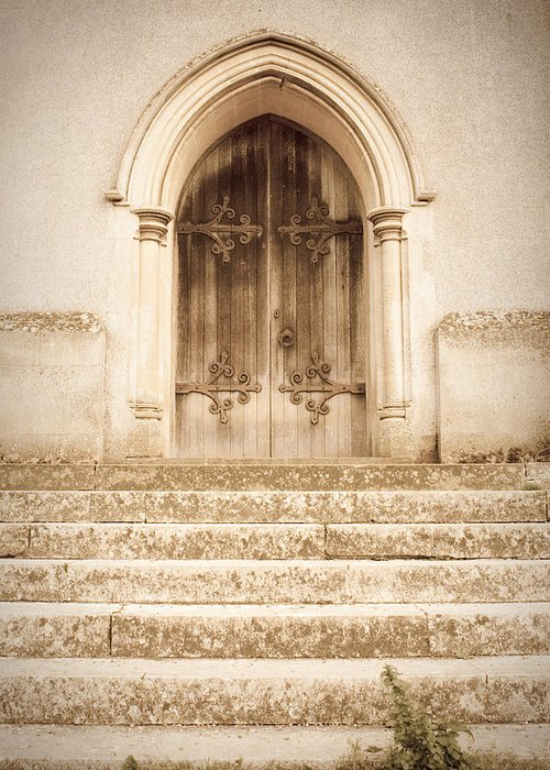 Admission Greeting Card featuring the photograph Old Church Door by Tom Gowanlock
