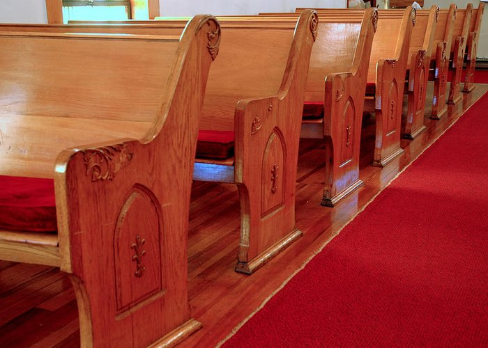 Usa Greeting Card featuring the photograph Old Church Pews by LeeAnn McLaneGoetz McLaneGoetzStudioLLCcom