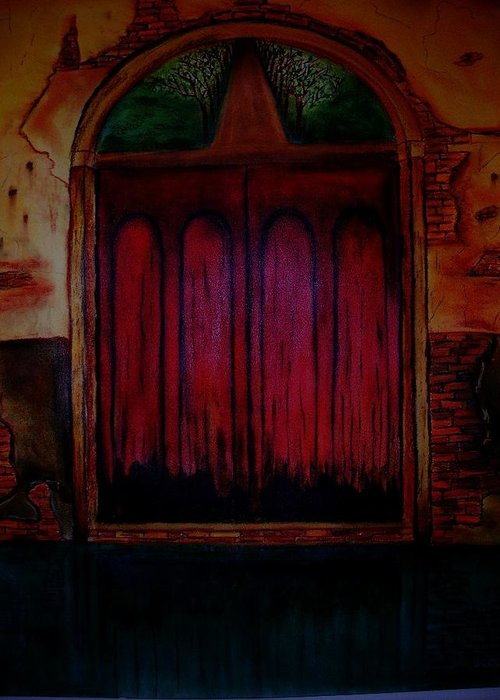 Surreal Greeting Card featuring the pastel Old Door by Saeed Ghassemlou