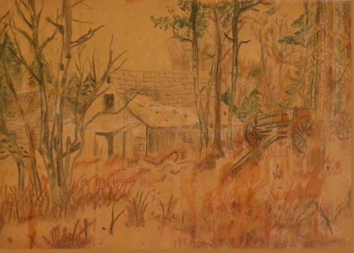 Farm Greeting Card featuring the drawing Old Farm by Carman Turner