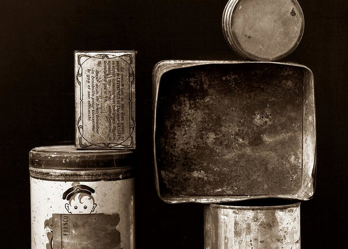 White Greeting Card featuring the photograph Old Fashioned Iron Boxes. by Bernard Jaubert