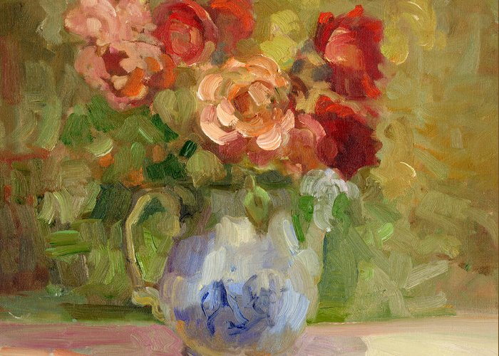 Old fashioned roses greeting card for sale by sally rosenbaum sally rosenbaum greeting card featuring the painting old fashioned roses by sally rosenbaum m4hsunfo
