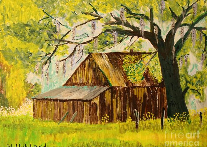 Old Florida Farm Shed Greeting Card featuring the painting Old Florida Farm Shed by Bill Hubbard