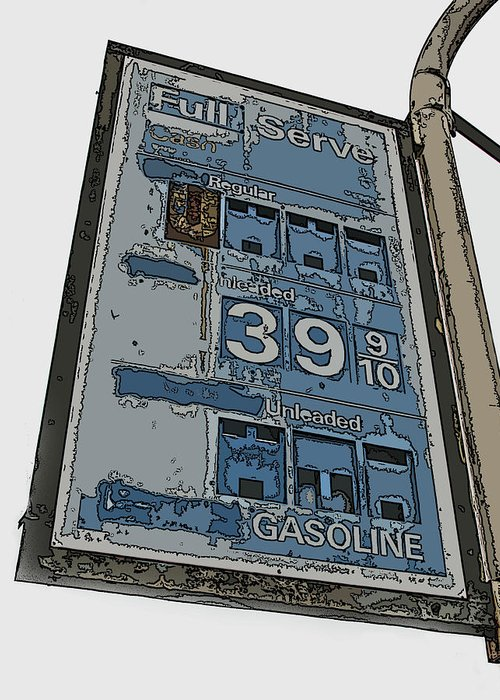 Old Full Service Gas Station Sign Greeting Card featuring the photograph Old Full Service Gas Station Sign by Samuel Sheats