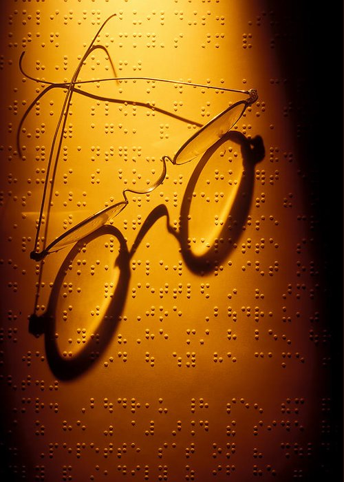 Braille Greeting Card featuring the photograph Old Glasses On Braille by Garry Gay