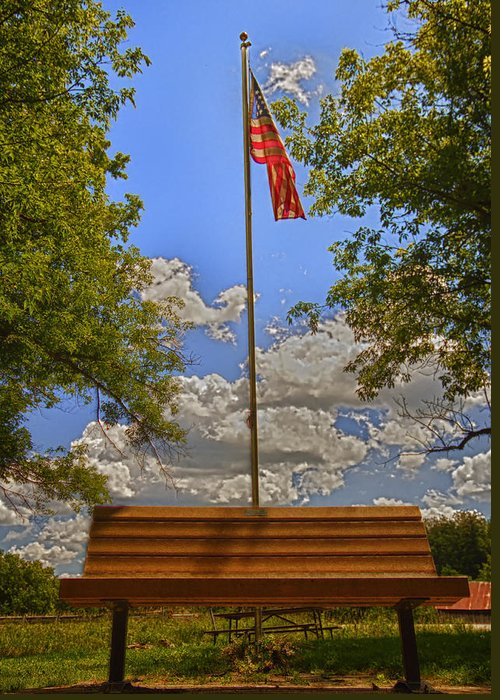 Flag Greeting Card featuring the photograph Old Glory Bench by Bill Tiepelman