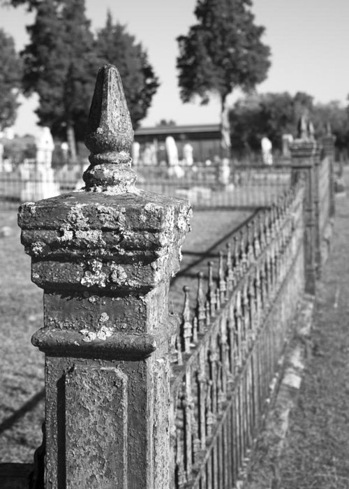 Graveyard Greeting Card featuring the photograph Old Graveyard Fence In Black And White by Kathy Clark