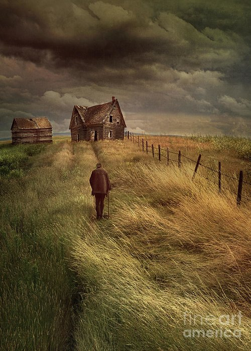 Alone Greeting Card featuring the photograph Old Man Walking Up A Path Of Tall Grass With Abandoned House In by Sandra Cunningham