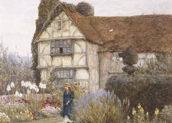 English; Landscape; C19th; C20th; Victorian; Exterior; Garden; Gardens; Border; Female; Flowers; Summer Greeting Card featuring the painting Old Manor House by Helen Allingham