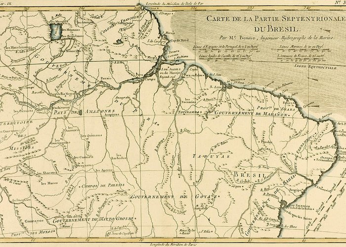 Engraving Greeting Card featuring the drawing Old Map Of Northern Brazil by Guillaume Raynal
