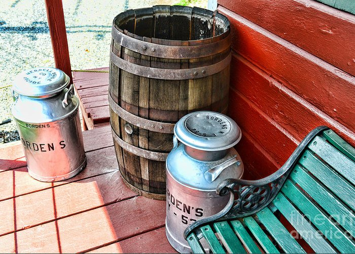 Rain Barrel Greeting Card featuring the photograph Old Milk Cans And Rain Barrel. by Paul Ward