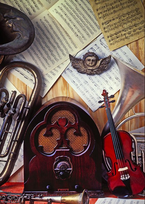 French Horn Greeting Card featuring the photograph Old Radio And Music Instruments by Garry Gay