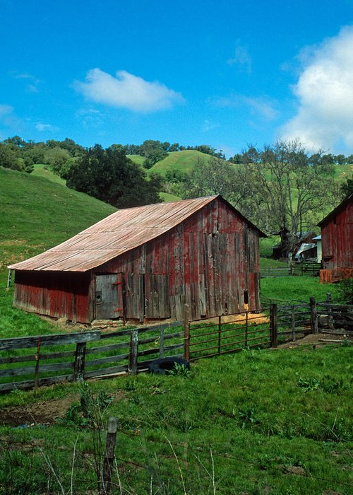 Landscapes Greeting Card featuring the photograph Old Red Barn by Kathy Yates