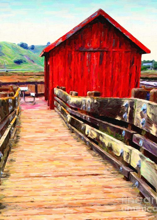 Bayarea Greeting Card featuring the photograph Old Red Shack by Wingsdomain Art and Photography