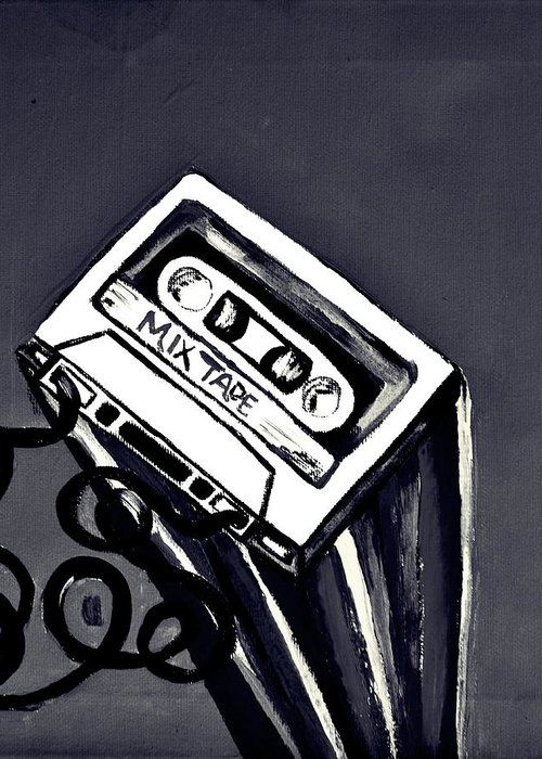 Mix Tape Greeting Card featuring the painting Old School by Cat Jackson