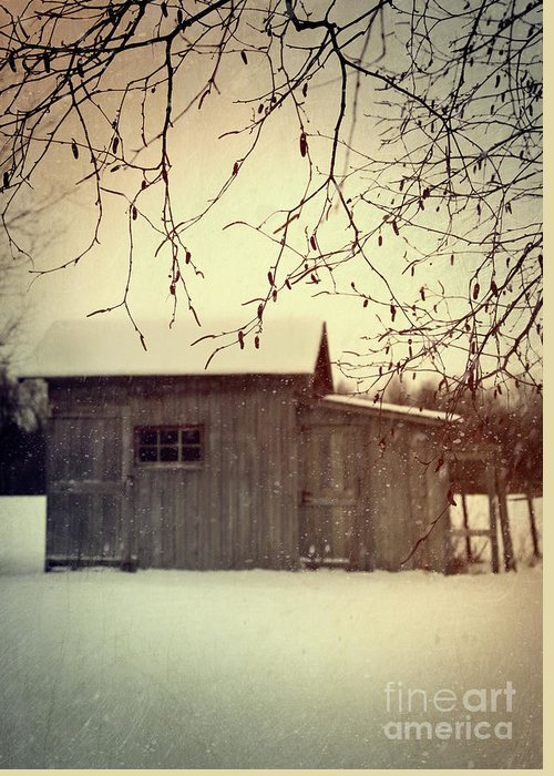 Atmospheric Greeting Card featuring the photograph Old Shed In Wintertime by Sandra Cunningham