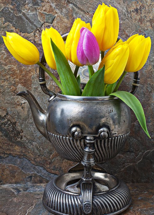 Old Tea Pot Greeting Card featuring the photograph Old Tea Pot And Tulips by Garry Gay