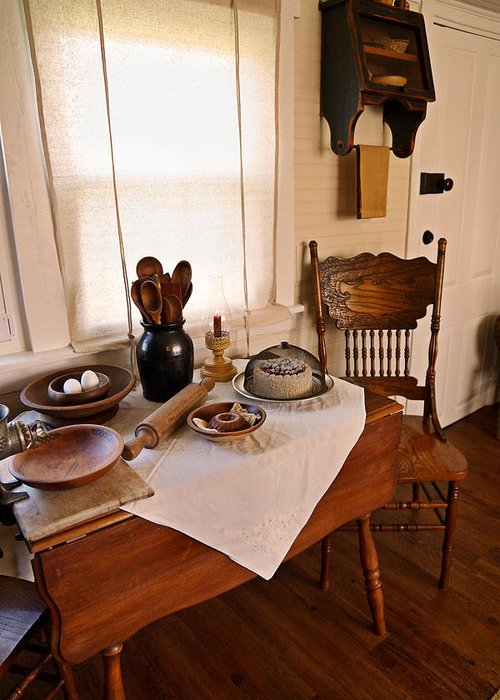 Antique Kitchen Greeting Card featuring the photograph Old Time Kitchen Table by Carmen Del Valle