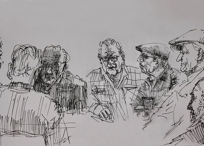 At The Cafe Greeting Card featuring the drawing Old-timers by Ylli Haruni