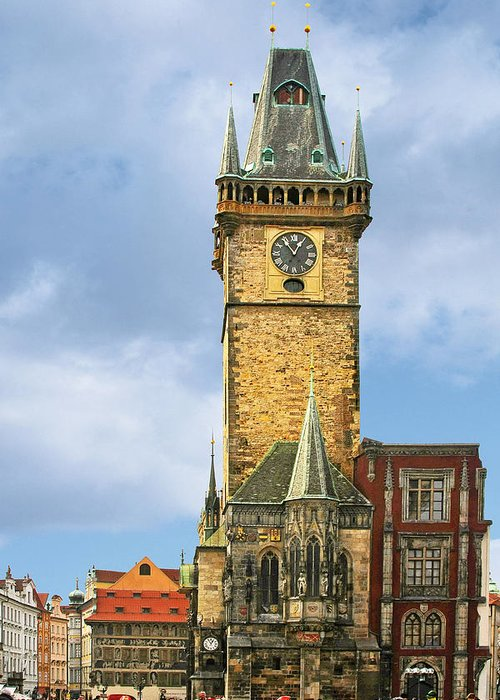 Old Town Hall Greeting Card featuring the photograph Old Town Hall Prague Cz by Christine Till