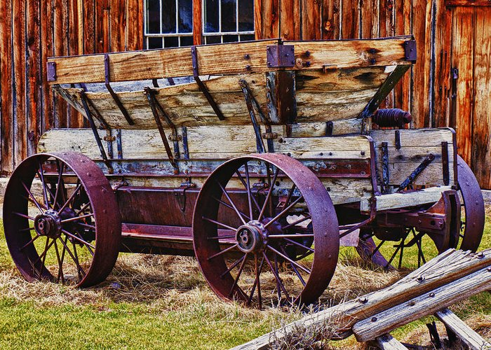 Old Wagon Bodie Ghost Town Greeting Card featuring the photograph Old Wagon Bodie Ghost Town by Garry Gay