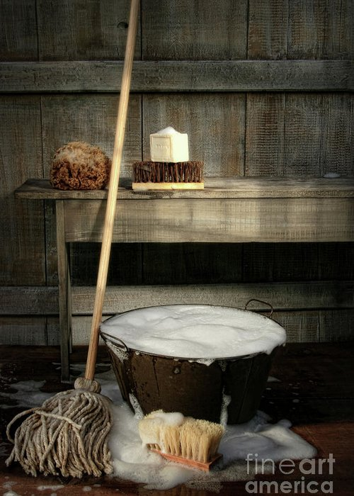 Antique Greeting Card featuring the photograph Old Wash Bucket With Mop And Brushes by Sandra Cunningham