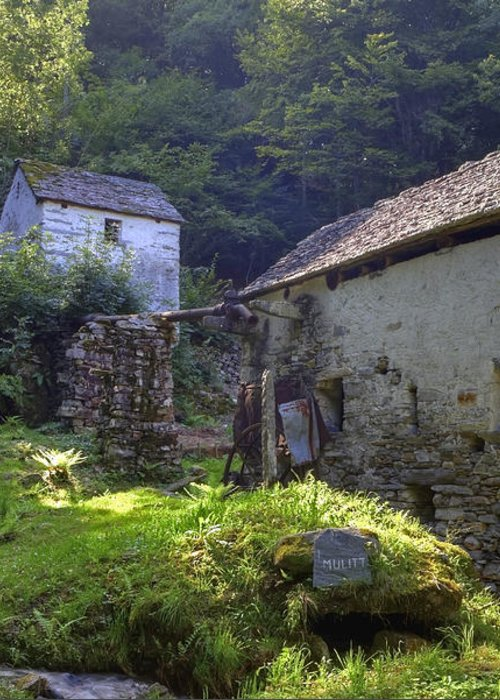 Moghegno Greeting Card featuring the photograph Old Watermill by Joana Kruse