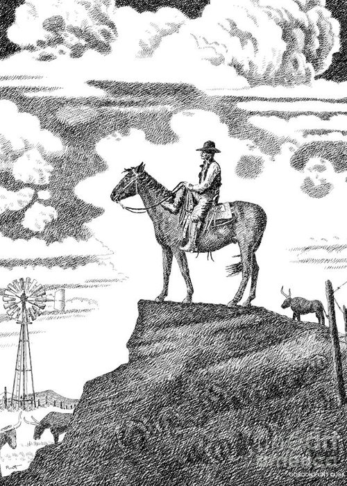 Cowboy Greeting Card featuring the drawing Old-west-art-cowboy by Gordon Punt