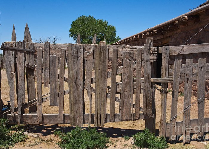 Architecture Greeting Card featuring the photograph Old Wooden Fence Gate by Thom Gourley/Flatbread Images, LLC